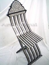 W15 Gorgeous Mother of Pearl Inlaid Folding Wood Black Chair