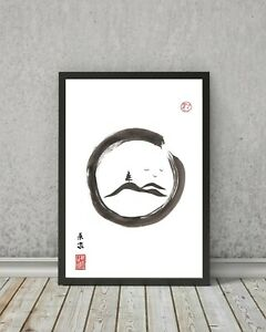 JAPANESE style HILLS print - wall art gift sumi-e landscape painting countryside