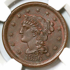 1856 N-2 Ngc Ms 66 Bn Slanted 5 Braided Hair Large Cent Coin 1c
