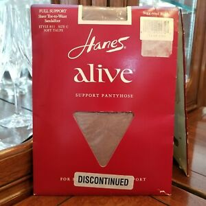 Hanes Alive Full Support Sheer Toe-To-Waist 811 Pantyhose In Soft Taupe Size C