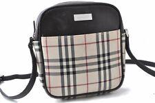 Authentic Burberrys Nova Check Shoulder Bag Nylon Leather Beige Brown A7945