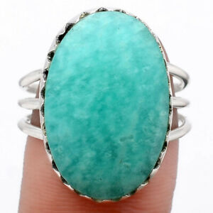 Natural Paraiba Amazonite 925 Sterling Silver Ring s.9 Jewelry E510