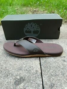 NEW TIMBERLAND MEN'S SANDALS SEATON BAY THONG BROWN LEATHER SIZE UK 8.5 RRP £60