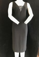 BNWT MONSOON Black Sleeveless Sequin V Neck & Keyhole Back Evening Dress UK 10