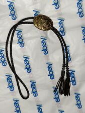Vintage Crumrine Silver Gold Tone Letter N Initial Bolo Tie Leather Cord Western