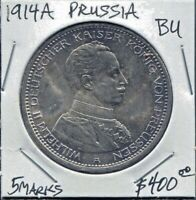 PRUSSIA - FANTASTIC 25TH ANNIVERSARY REIGN WILHELM II SILVER 5 MARKS, 1914 A