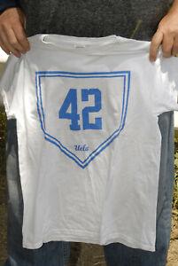 Jackie Robinson UCLA baseball t shirt Med near mint Blue white Brooklyn Dodgers