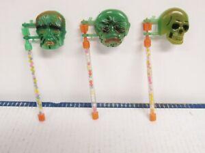 Vintage Halloween Plastic Frankenstein Creature Skeleton Candy Containers