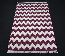 Handmade Cotton Area Kilim Chevron Designer Home Decorative Red Color Kilim