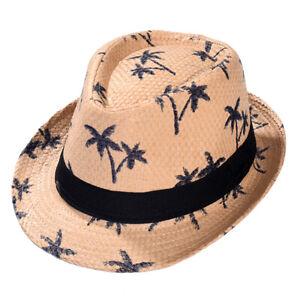 Straw Fedora Hat Cuban Short Brim Trilby Summer Beach Sun Panama Gangster Cap
