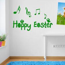 Buona Pasqua pulcini volatili Note Musicali Adesivo Decalcomania Set Parete Finestra Decor A151