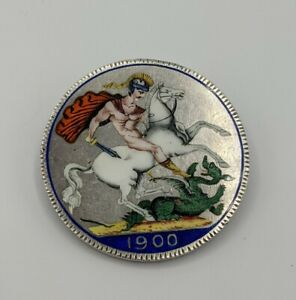 Enamelled Queen Victoria Silver Crown Brooch 1900 George & The Dragon Love Token