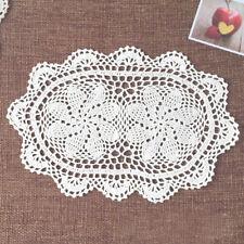4Pcs/Lot Oval White Vintage Hand Crochet Cotton Lace Doilies 10x16inch Floral