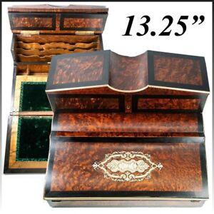 "Antique French Writer's Desk, Chest, 13"" Napoleon III Era, Exotic Woods, Boulle"