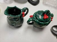 Vintage Lefton Green Holly Berry Christmas Creamer And Sugar