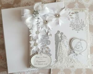 Personalised Large White Wedding & Engagement Card Handmade & Gift Boxed