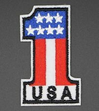 USA 1 EMBROIDERED PATCH, PATRIOTIC AMERICAN ONE FLAG USA NUMBER ONE (#1-188)