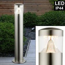 3x Luxus Außen Bereich LED Steh Stand Lampen Park Edelstahl Leuchten Steck Dose