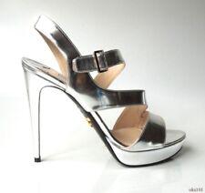 new $690 PRADA silver mirror asymmetrical open-toe ankle strap shoes 40 10 -sexy