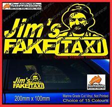 Jims FAKE TAXI Sticker Decals Funny JDM Drift Turbo Hoon Race Car 200mm