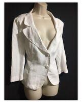 "PER UNA Linen Blazer Jacket White Classy Chic Unlined Women's UK 18 Petite 46"""