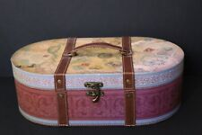 Post Card & Travel Map Themed Large Oval Hat Box w/ Latch & Leather-like Handle