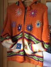 Hand Knitted, Hooded, Cardigan, Made In Equador, One Size, Good Condition.