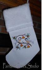 Chickadees & Jingle Bells, Chickadee Handmade Embroidered Christmas Stocking