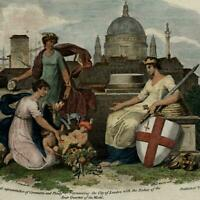 Allegorical title page frontis muses London c.1800 engraved hand color print