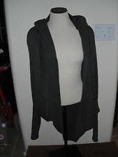 Cashmere Brand Women Gray Circle Sweater Hoodie Cable Knit Runway Acrylic/Nylon