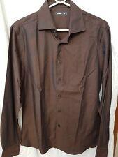 Celio Men Brown Long Sleeves Cotton Blend Button Down Casual Shirt Size M