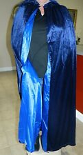 Hooded Velvet Wizard Cloak Cape Halloween Robe Blue Long Magic Count Dracula SzL