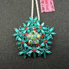 Betsey Johnson Charm Green Rhinestone Fashion Snowflake Pendant Necklace Chain