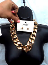 Light Hollow Link Curb Chain Metal Statement Gold Tone Fashion Hip Hop NEW