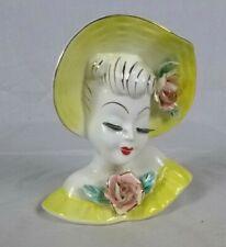 Vtg NAPCO Lady Head Vase Wall Pocket Yellow Dress Hat Pink Roses EYELASHES