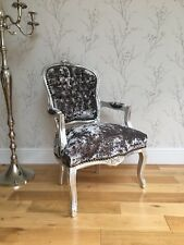 French Louis style Shabby Chic Grey Crushed Velvet Chair / silver wooden frame