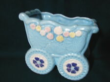 So Sweet Vintage BLUE CARRIAGE Baby Shower or Nursery Planter