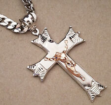 Men's XXL Rose Gold Rhodium Plated Cross Charm & 36in Long 10mm Cuban Chain Set