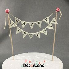 Happy Birthday Vintage Style Pink Flower Mini Bunting Flag Cake Topper