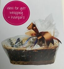 6 x  CLEAR HAMPER BASKET Gift Cake CELLOPHANE DISPLAY BAGS With Ties CHRISTMAS
