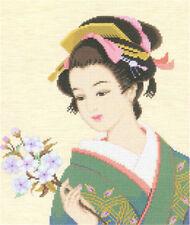 """Japanese geisha""counted cross stitch kits"