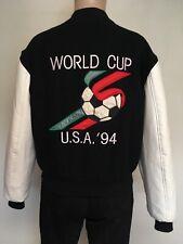 VTG 90s FIFA WORLD CUP USA 94 WOOL BOMBER JACKET Black White USA MADE M Soccer
