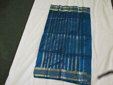 NEW Peacock BLUE Gold PURE SILK Sari Classic FABRIC LUXURIOUS Silk SAREE Panels