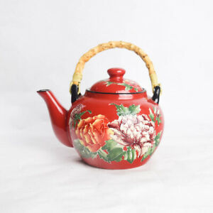 Pier 1 Imports Orange Purple Peony Floral Red Teapot for One Bamboo Handle