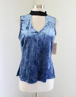 NWT $69 Nanette Lepore Blue Crushed Velvet Keyhole Lace Tank Top Blouse Size M