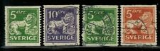 Sweden #132,134-136 Perf.13 Vertic. No Wmk. & 181(135-6) 1920-26 Used