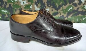 Men's British Army Military Surplus Officer's Tapped Brown Parade Dress Shoes 8