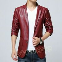 Mens Fashion Slim Fit Faux Leather Jacket Business Casual Blazers Coat Plus Size
