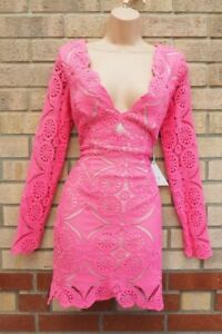 LOVE TRIANGLE BARBIE PINK LACE CROCHET V NECK LONG SLEEVE BODYCON PARTY DRESS 12