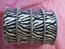 "7/8"" Wide Black & White ~ ZEBRA ~ Animal Jungle Satin Ribbon Print 25 Yards ROLL"